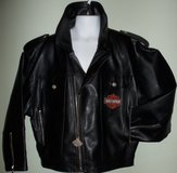 HARLEY DAVIDSON Kid/Youth Black Faux Leather Motorcycle Jacket Zip USED S 8/10 in Tinley Park, Illinois