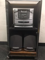 Sony compact stereo with remote, speakers and cabinet in West Orange, New Jersey