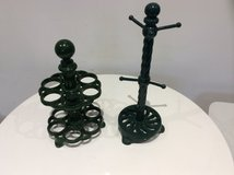2 GREEN VINTAGE CAST IRON EGG HOLDER & MUG HOLDER in Lakenheath, UK