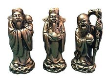 "Chinese Feng Shui Gold Resin Three Wise Men Figurine- 4"" Set of 3 in Richmond, Virginia"