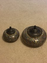 Two Gorgeous Glass Bowls with Metal Lids in Kingwood, Texas