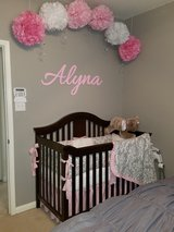Pink and Gray Damask Baby Bedding in Kingwood, Texas