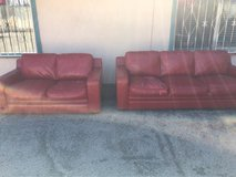 Free couch and love seat leather is peeling in 29 Palms, California
