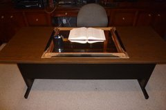 "Office/Business Furniture: 6'x30"" Metal Desk, wood grain looking top, sturdy,like new. Exc Cond in Katy, Texas"