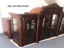 REDUCED! Huge 2piece HUTCH/BUFFET CHINA CABINET,mirrored back,glass shelves,velvet drawers,lights in Katy, Texas