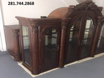 FURNITURE: Detailed Hutch/Buffet China Cabinet,lights,glass shelves,storage. EXC Like New. Moving! in Katy, Texas
