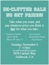 De-Clutter Sale!! in Vista, California