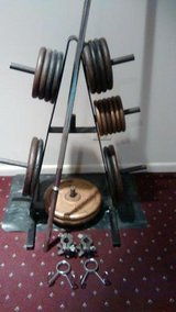 Weider Barbell, Plates(270LBS), Collars And Pro Storage Rack in Westmont, Illinois