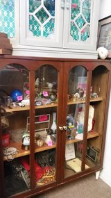 Brown glass cabinet real wood in 29 Palms, California