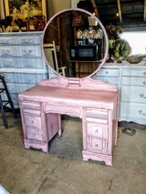 pearl pink antique vanity and chair in Cherry Point, North Carolina