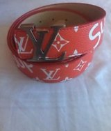 louis vuitton red supreme belt in Cleveland, Texas
