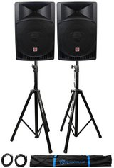 """Rockville 15"""" (Pair) Powered Speakers 1000 Watt Each W/Stands & XLR Cables in Fort Campbell, Kentucky"""