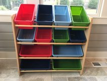 Wooden and Plastic Toy Organizer / Storage Shelf; 12 Bins Primary Colors! in Westmont, Illinois