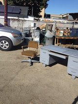 vintage metal desk and chair in Huntington Beach, California