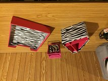 Desk accessories/ zebra stripped with pink in Lockport, Illinois