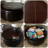 Leather storage ottoman with reversible wooden table top. in Oceanside, California