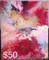 Pink and gold abstract painting in Camp Pendleton, California