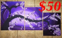 Three piece purple cherry blossom painting in Camp Pendleton, California