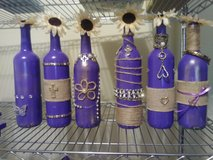 Purple bottles decor in Bellaire, Texas