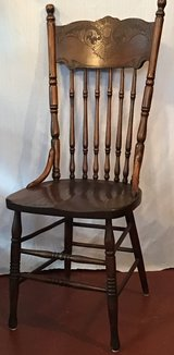 Antique solid oak pressed back dining room chairs (6 matching) in Kingwood, Texas
