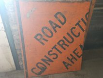 Man Cave Wall Art / Orange Road Construction Sign in Fort Lewis, Washington