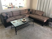 Brown/black sectional couch in Travis AFB, California