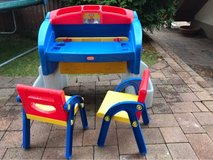 Toddlers Table with adjustable drawing hutch and 2 Chairs in Ramstein, Germany