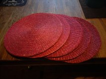 solid red wicker table mats in 29 Palms, California
