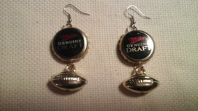 Miller Genuine Draft beer Football Earrings NEW! in Lockport, Illinois