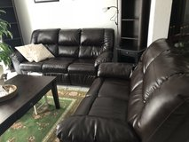 Dark brown faux leather couch set in Ramstein, Germany