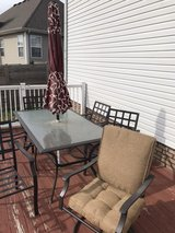 patio table. 6 chairs, 12 cushions, umbrella, covers in Fort Campbell, Kentucky