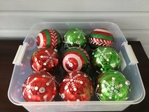 "Set of 9 Jumbo (6"") Indoor / Outdoor Ornaments (Red, Green & White) in Naperville, Illinois"