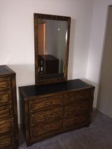 solid wood furniture dresser with mirror. Bedroom. c.1974 in Orland Park, Illinois