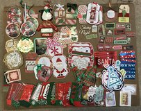 Box of random Christmas card, tag making items in Glendale Heights, Illinois
