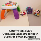 Activity table, cube, airplane in Ramstein, Germany
