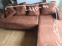 L shape Couch with pillows in Ramstein, Germany