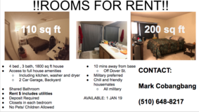 2 Rooms For Rent, 10 mins away from Travis AFB in Fairfield, California