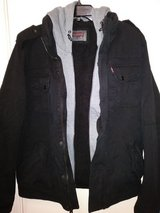 Levi's black military trucker jacket in The Woodlands, Texas