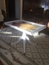 Duncan Phyfe style glass top tray table in Naperville, Illinois