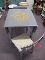 BEACHEY NAUTICAL DROP LEAF TABLE WITH 2 PADDED CHAIRS AT TWICE AS NICE FLEA MARKET BOOTH # 605 in Camp Lejeune, North Carolina