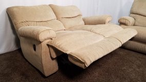 2 Piece La-Z-Boy Tan / Light Brown Chenille Reclining Sofa And Love Seat Set in Oswego, New York