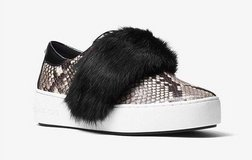 MICHAEL Michael Kors MAVEN Fur And Embossed-Leather Slip-On Sneaker US 6.5 7.0 in Hinesville, Georgia