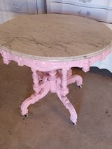 large antique oval marble top entry way table in Cherry Point, North Carolina