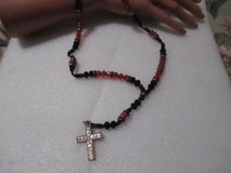 HAND MADE RED AND BLACK CRYSTAL ROSARY BEADS in Houston, Texas