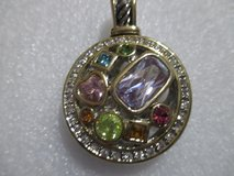 NWT SILVER TONE PENDANT WITH MULTI COLORED CRYSTAL in Houston, Texas