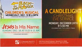 CHRISTMAS WORSHIP SERVICES!! in Beaufort, South Carolina
