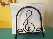 "$5.00 Black Iron Musical Note Napkin Holder  Height 6"" - Length 5 1/2""  PreWorn, LOOKS NEW - EXc... in Leesville, Louisiana"