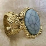 $5.00 Ladies Size 7 Blue Crackle Vein Stone - Gold Tone Ring NEW NEW, - EXcellent Condition Smok... in Leesville, Louisiana
