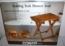 New! Conair Home Folding Solid Teak Bathroom Spa / Shower Bench Seat ~PTB2SR in Bolingbrook, Illinois