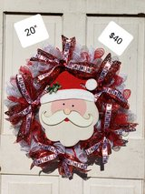 Santa! Wreath with ribbons and bells in Kingwood, Texas